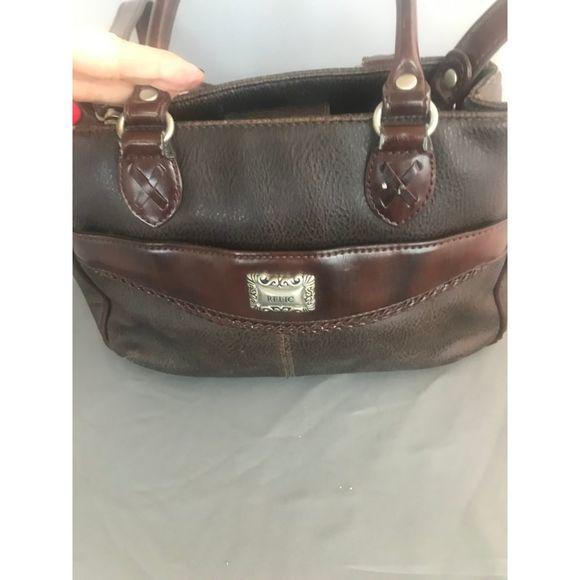 Relic Handbags - Relic Small Brown Leather Crossbody w/handles